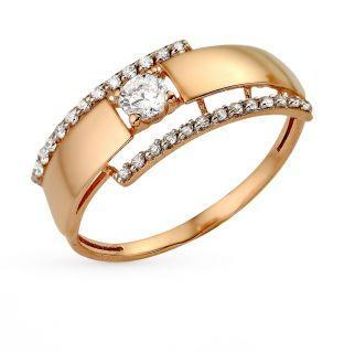 Золотое кольцо с фианитами СОРОКИН 80070800*: красное и розовое золото 585 пробы, фианит — купить в Екатеринбурге, фото, артикул 55011 — интернет-магазин SUNLIGHT