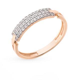 Золотое кольцо с фианитами СОРОКИН 60051100*: красное и розовое золото 585 пробы, фианит — купить в интернет-магазине SUNLIGHT, фото, артикул 44510