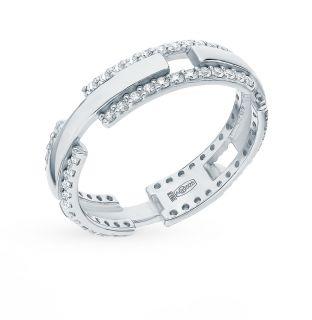 Серебряное кольцо с фианитами AQUAMARINE 62311А.5: белое серебро 925 пробы, фианит — купить в интернет-магазине SUNLIGHT, фото, артикул 90030
