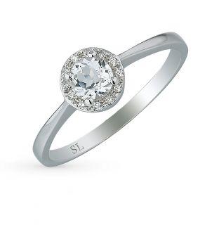 Золотое кольцо с топазами и бриллиантами SUNLIGHT: белое золото 585 пробы, топаз, бриллиант — купить в интернет-магазине Санлайт, фото, артикул 56568