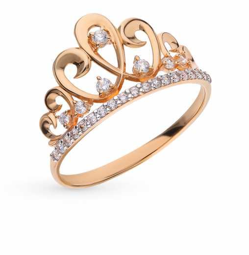 Кольцо, вставка  фианит  Розовое золото 585 пробы. −50% Санкт-Петербургский  Ювелирный Завод d1875d094ac