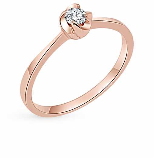 Кольцо с 1 бриллиантом, 0.15 карат  Розовое золото 585 пробы. −50% SUNLIGHT ed3eb07985c