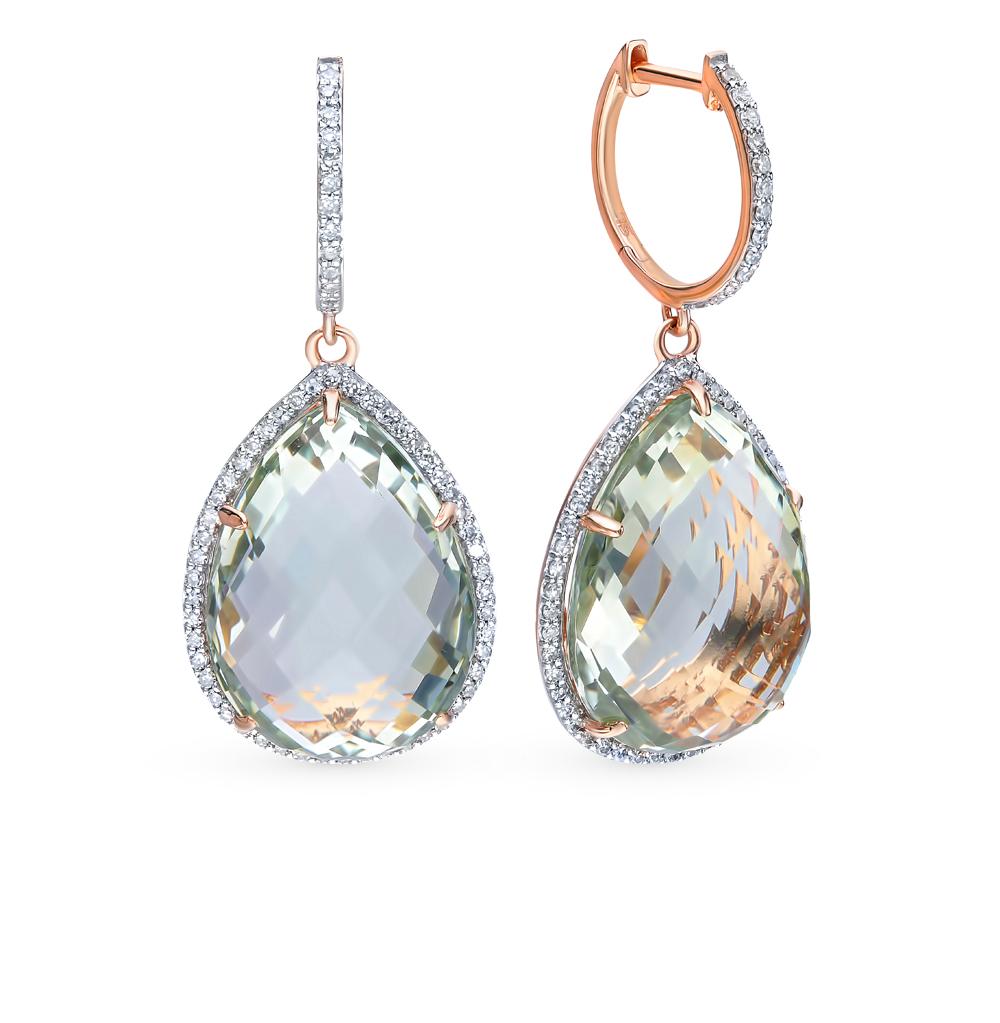 Золотые серьги с аметистами и бриллиантами