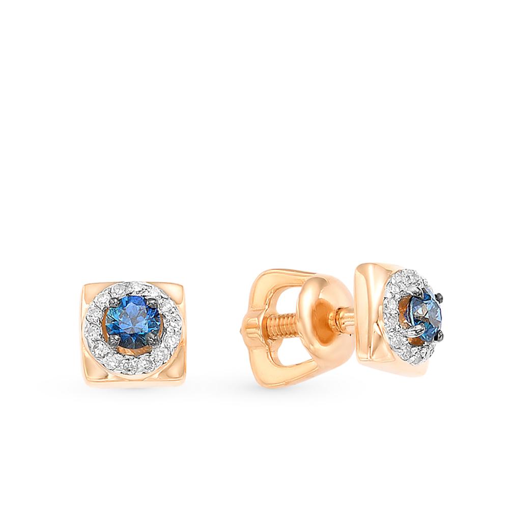 Золотые серьги с сапфирами и бриллиантами в Екатеринбурге