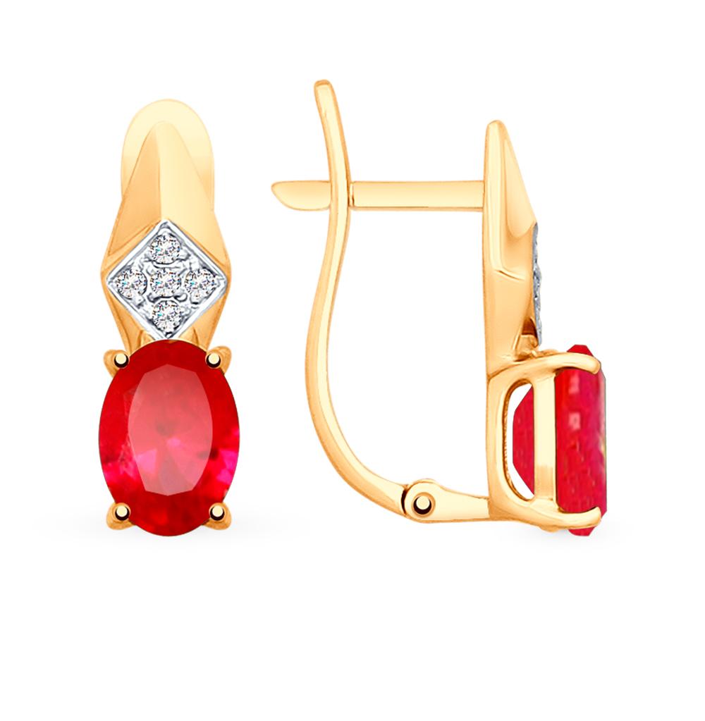 Фото «Золотые серьги с корундом и фианитами SOKOLOV 725503»