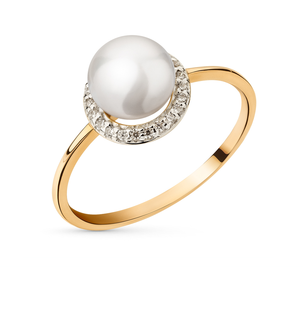 Фото «золотое кольцо с фианитами и жемчугом»