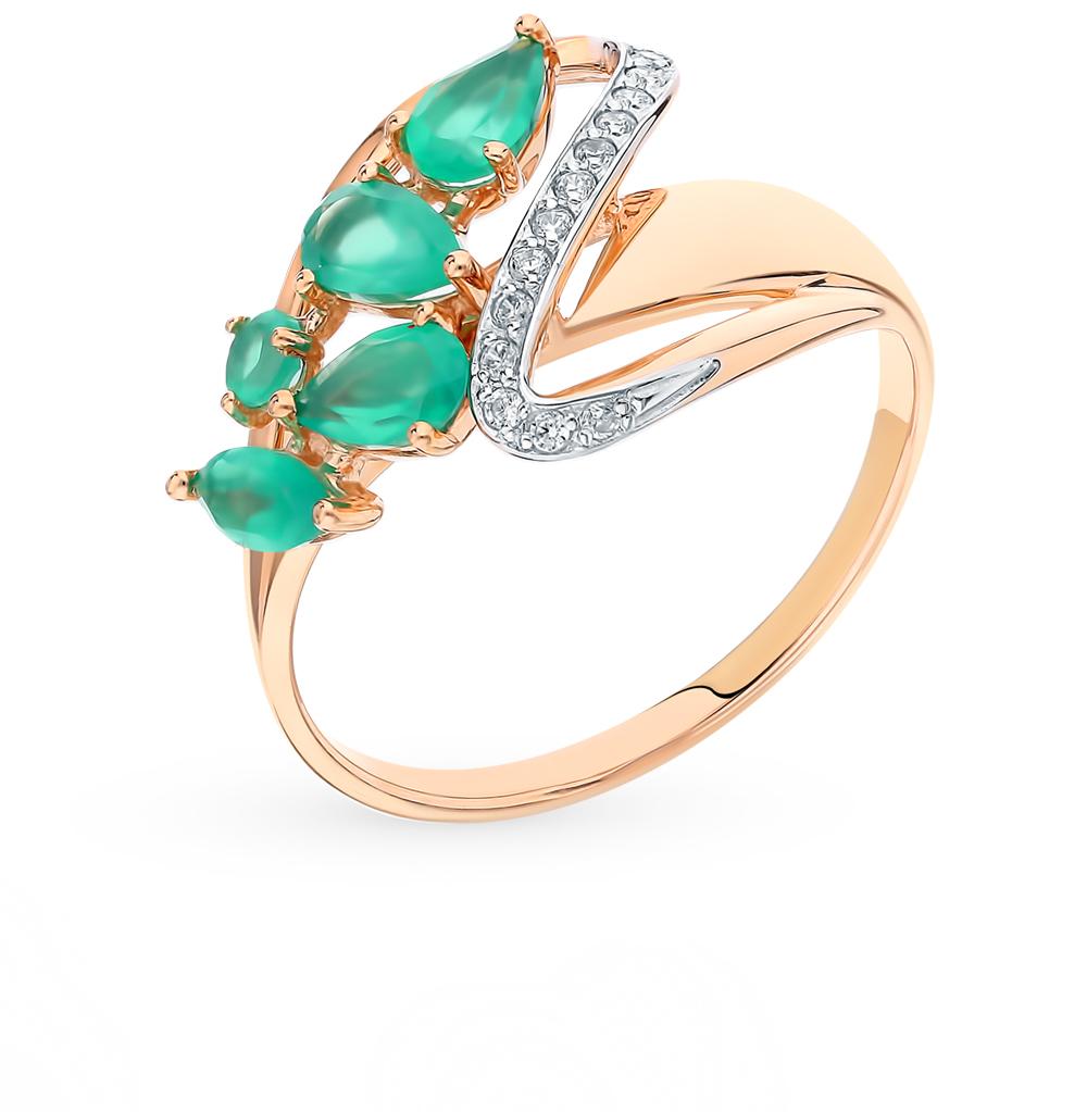 Фото «Золотое кольцо с фианитами и агатом SOKOLOV 715393*»