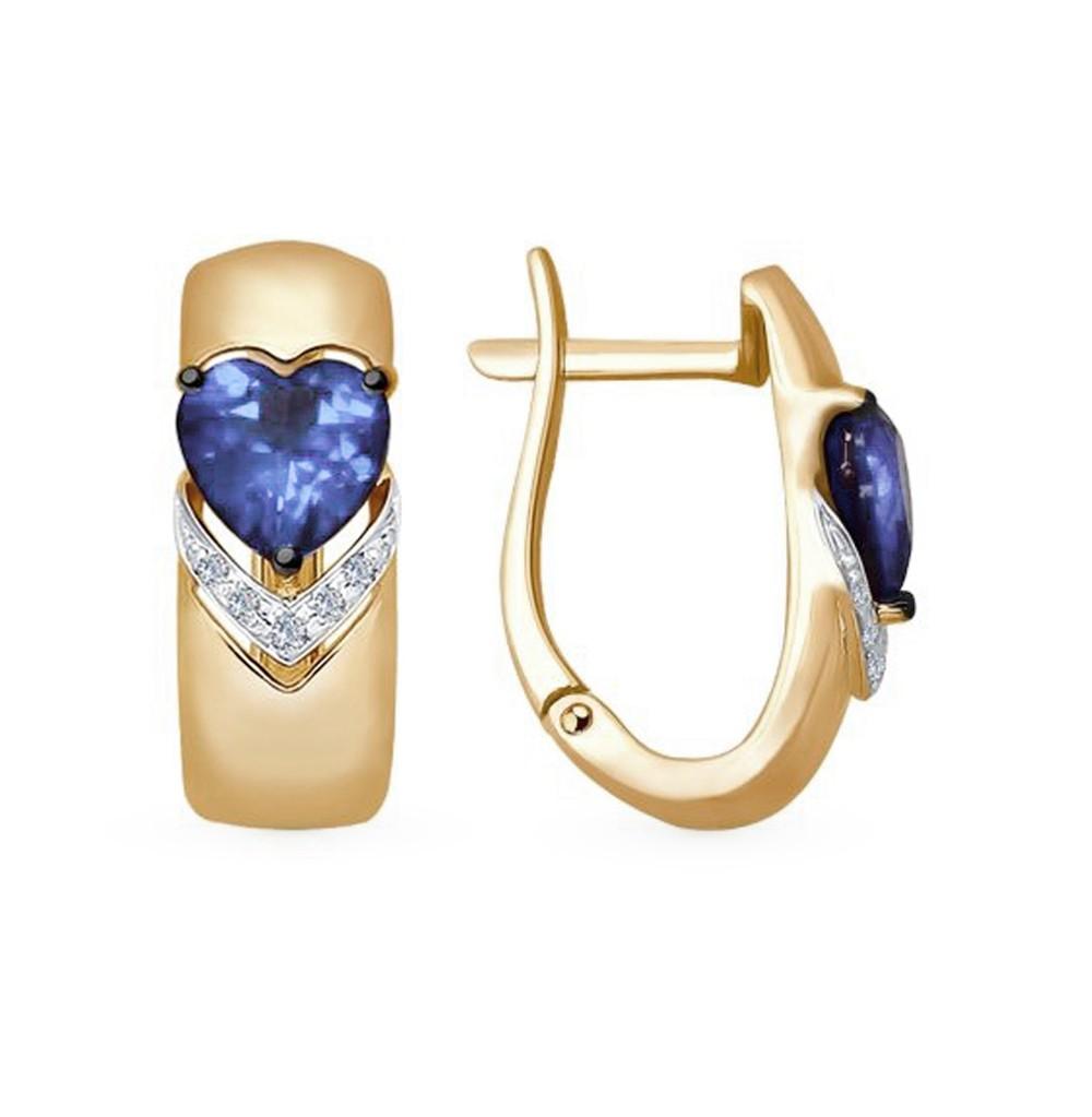 Фото «Золотые серьги с корундом и бриллиантами SOKOLOV 6022114»