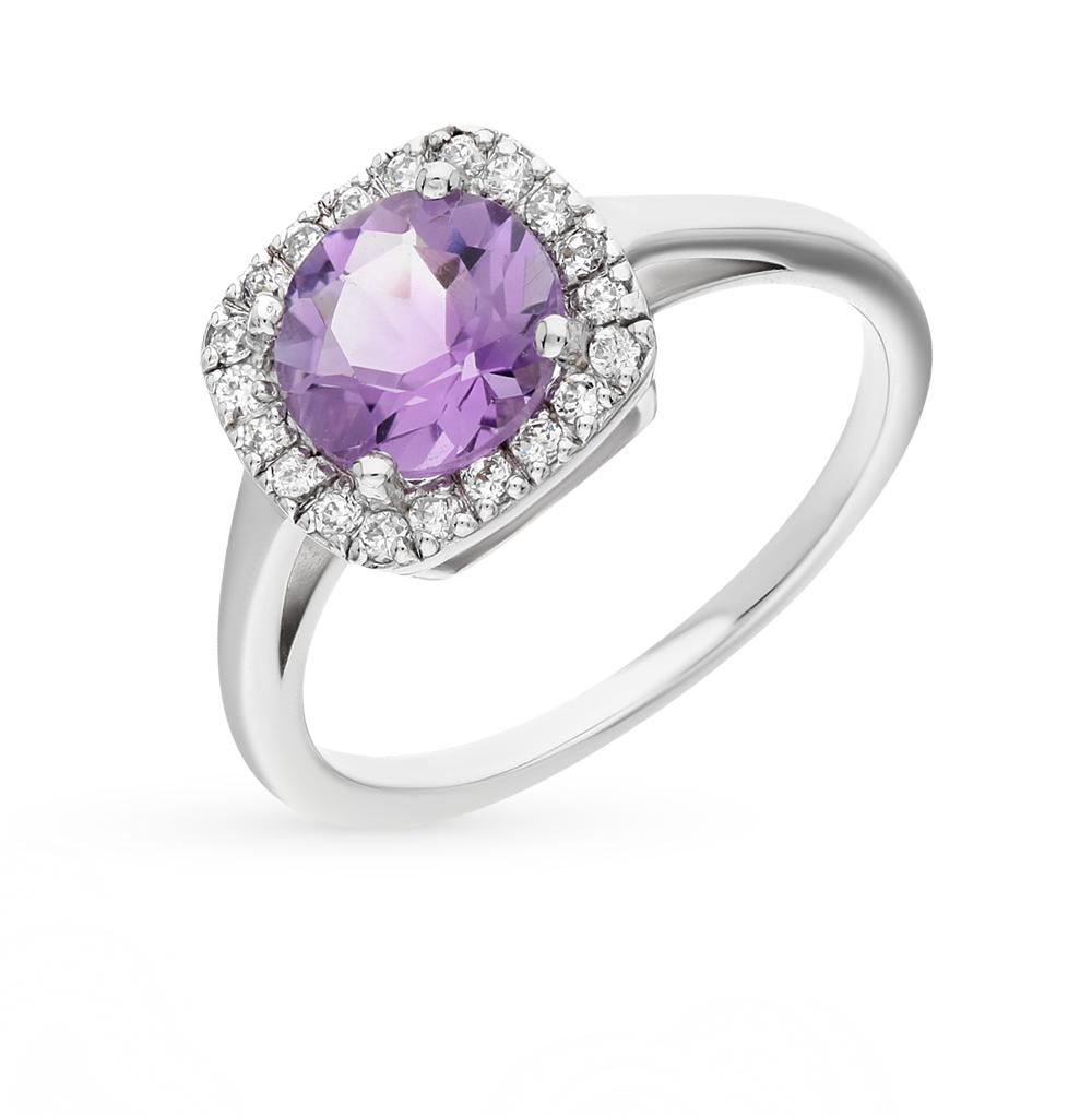 Фото «серебряное кольцо с аметистом и фианитами»