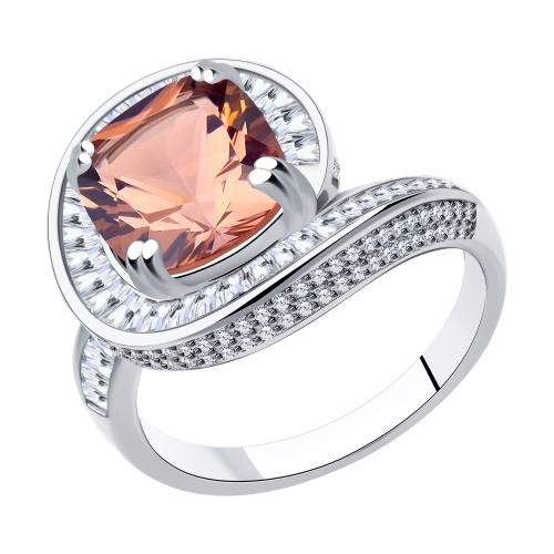 Фото «Серебряное кольцо с фианитами и ситаллами SOKOLOV 94014555»
