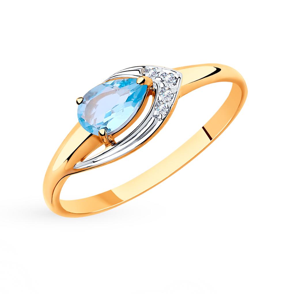 Фото «Золотое кольцо с топазами и фианитами SOKOLOV 715489*»
