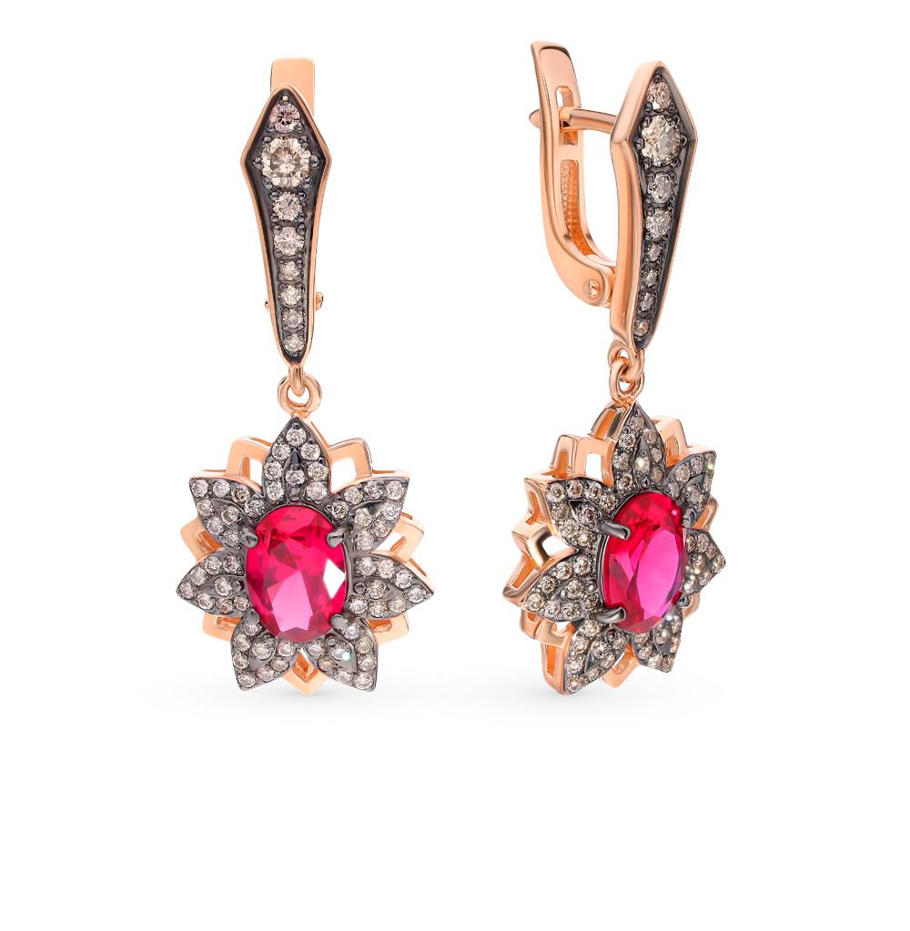 золотые серьги с коньячными бриллиантами и рубинами