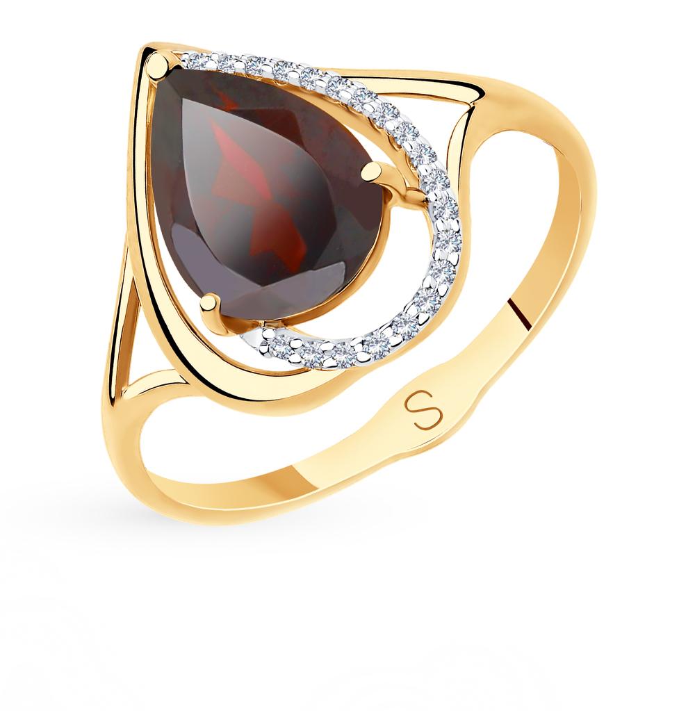 Фото «Золотое кольцо с фианитами и гранатом SOKOLOV 715578*»