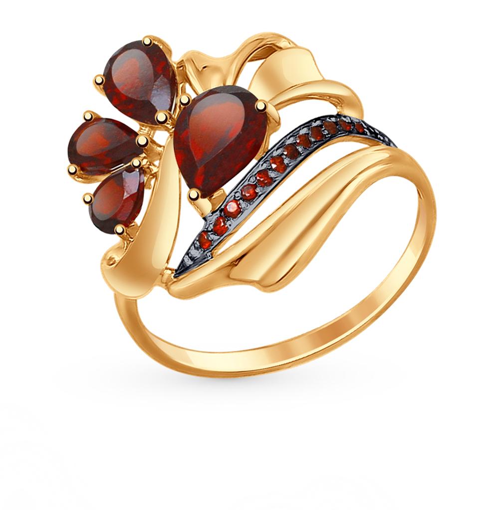золотое кольцо с фианитами и гранатом SOKOLOV 714760*