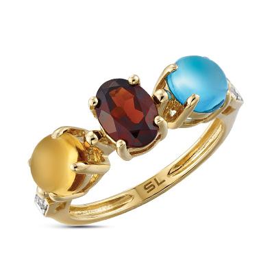 Фото «золотое кольцо с гранатом, цитринами, топазами и бриллиантами»