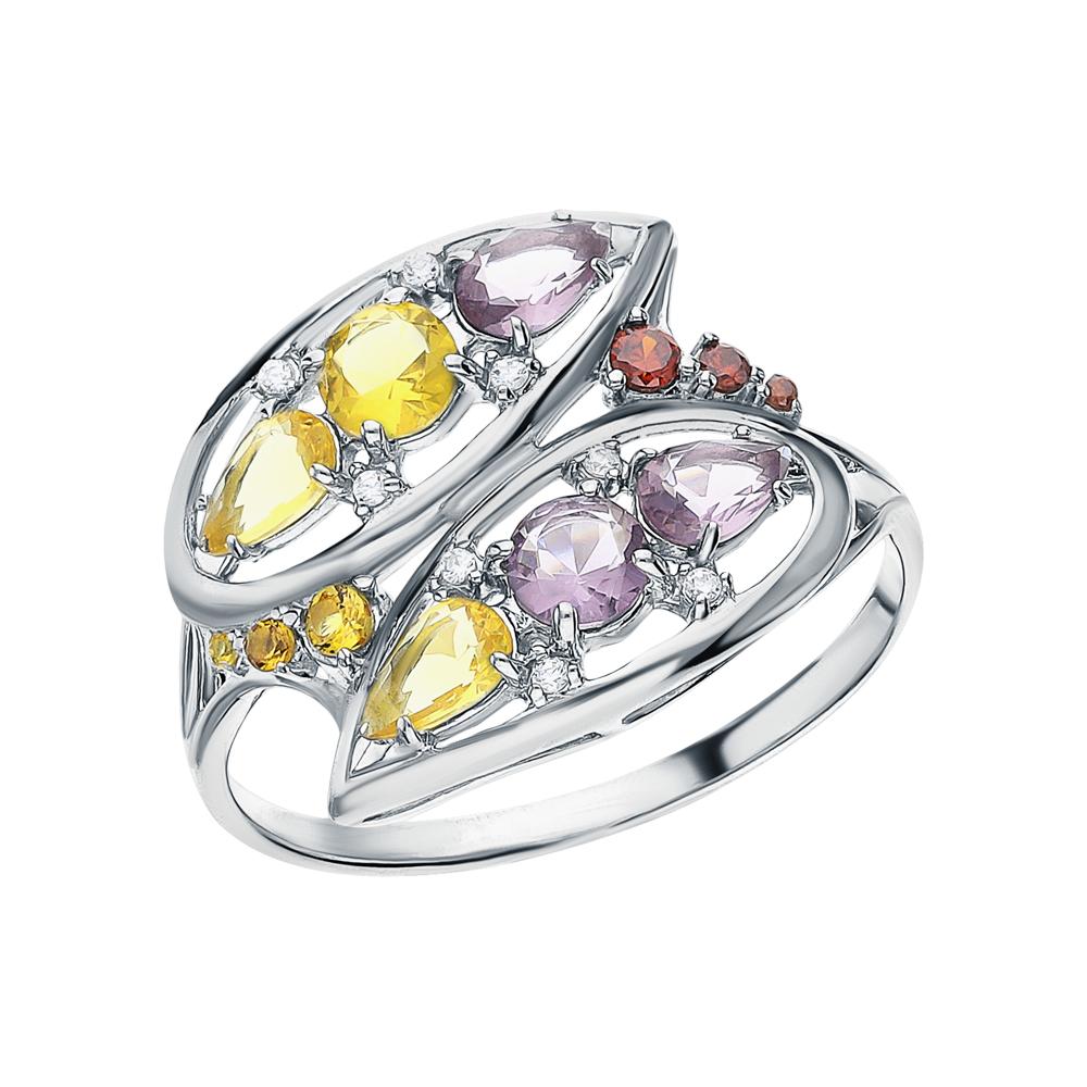 Фото «Серебряное кольцо с фианитами, цитринами синтетическими и аметистами синтетическими»
