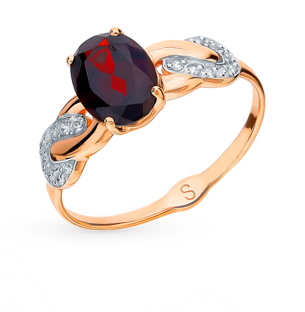 Золотое кольцо с фианитами и гранатом SOKOLOV 715112* в Санкт-Петербурге
