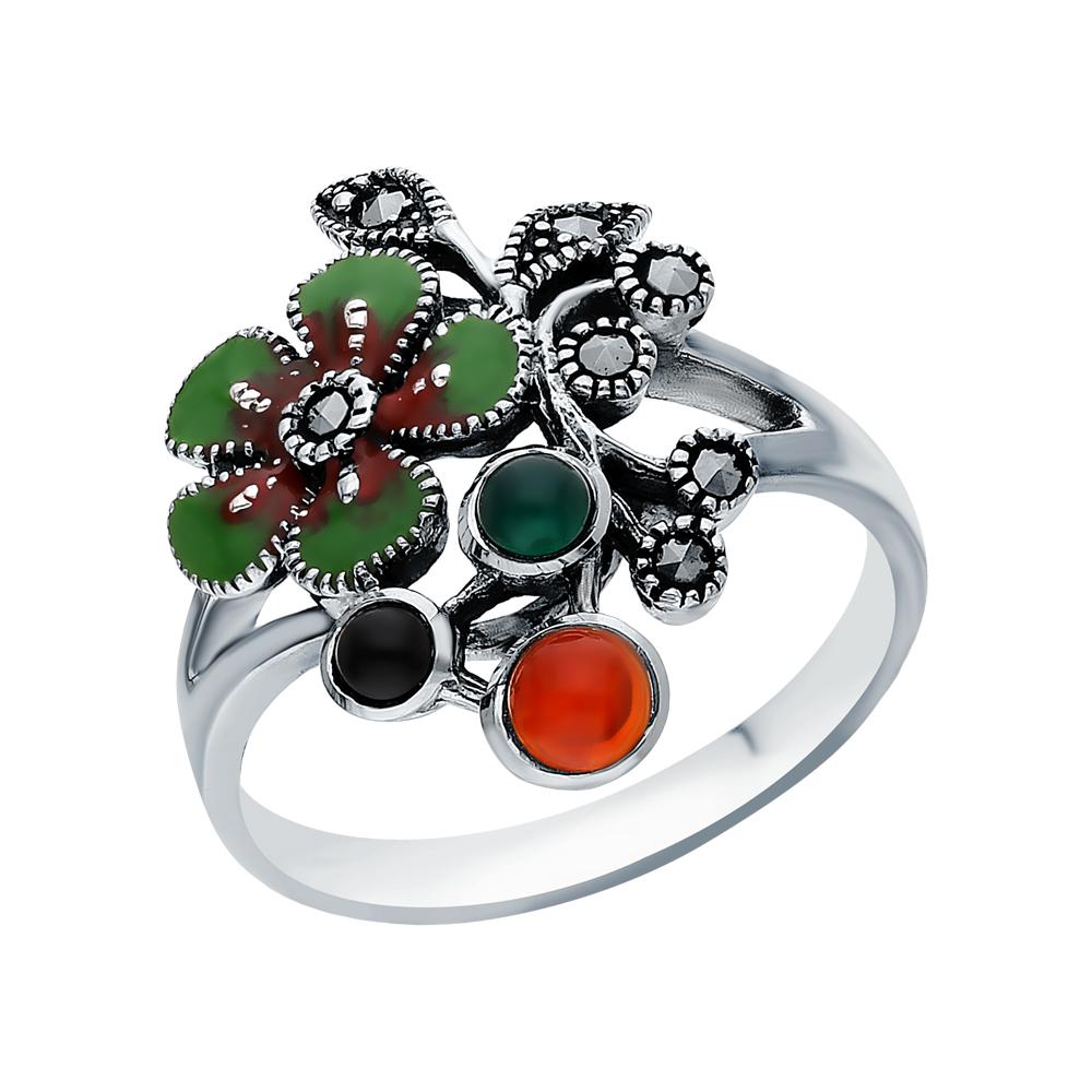 Фото «Серебряное кольцо с хризопразами, сердоликом, ониксом, эмалью и марказитами swarovski»