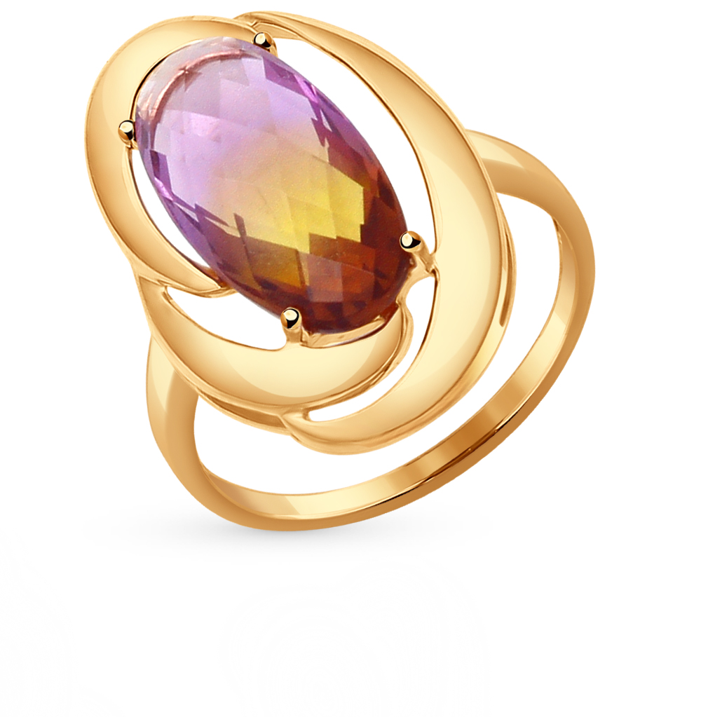 Золотое кольцо с аметринами в Екатеринбурге