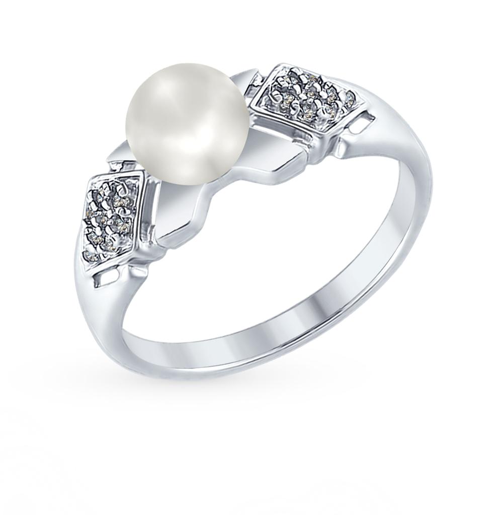 серебряное кольцо с фианитами и жемчугом SOKOLOV 94012352