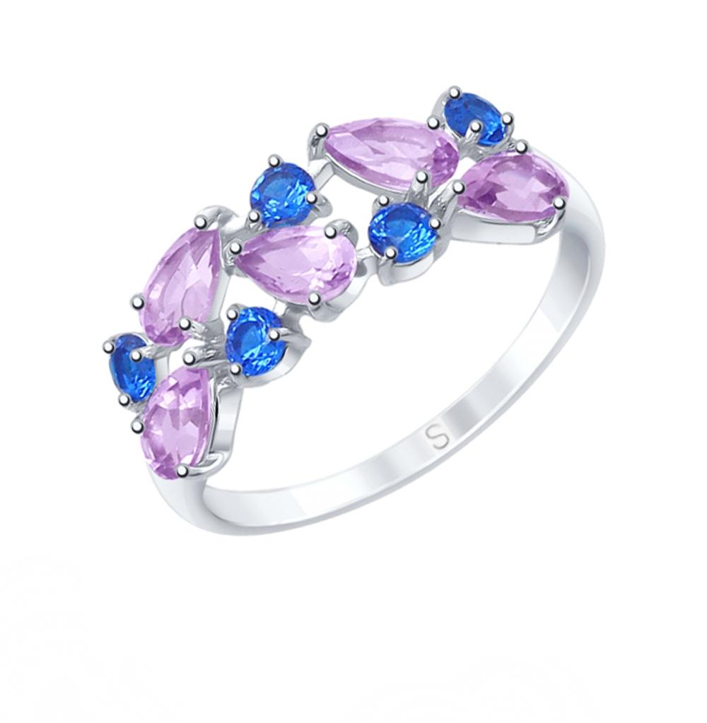 Фото «Серебряное кольцо с аметистом и фианитами SOKOLOV 92011600»