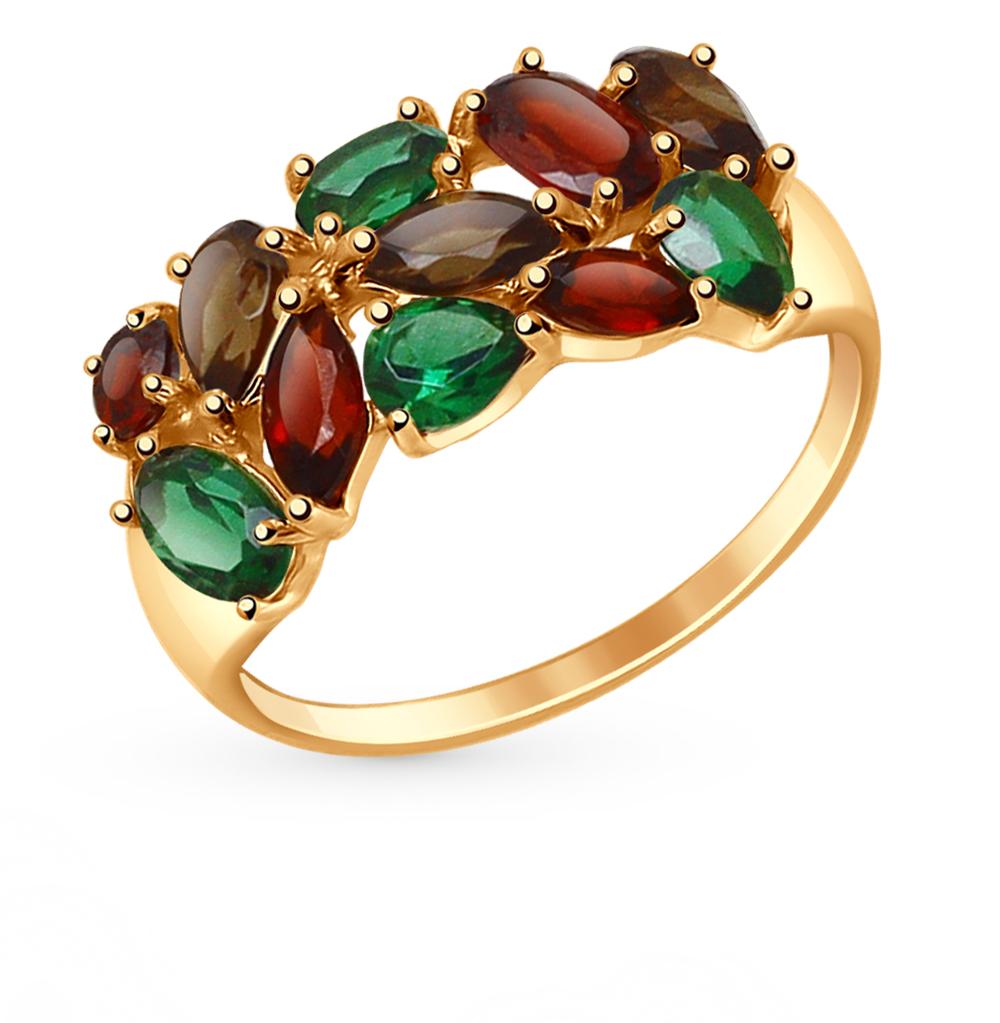 Золотое кольцо с нанокристаллами, раухтопазами и гранатом SOKOLOV 714681* в Екатеринбурге