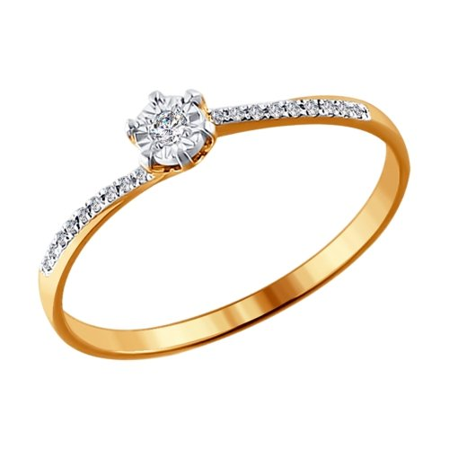 Фото «Золотое кольцо с бриллиантами SOKOLOV 1011408»