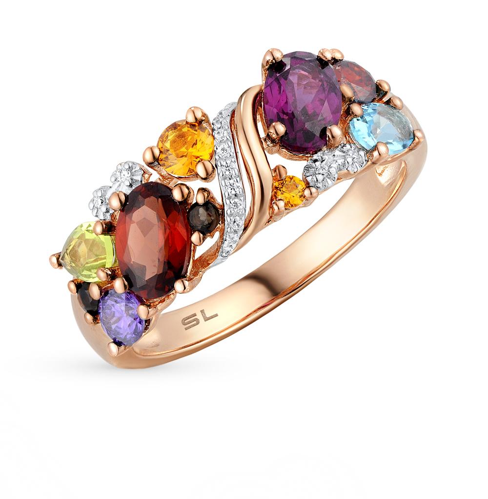 Золотое кольцо с хризолитом, раухтопазами, аметистом, топазами, гранатом, цитринами и бриллиантами в Екатеринбурге