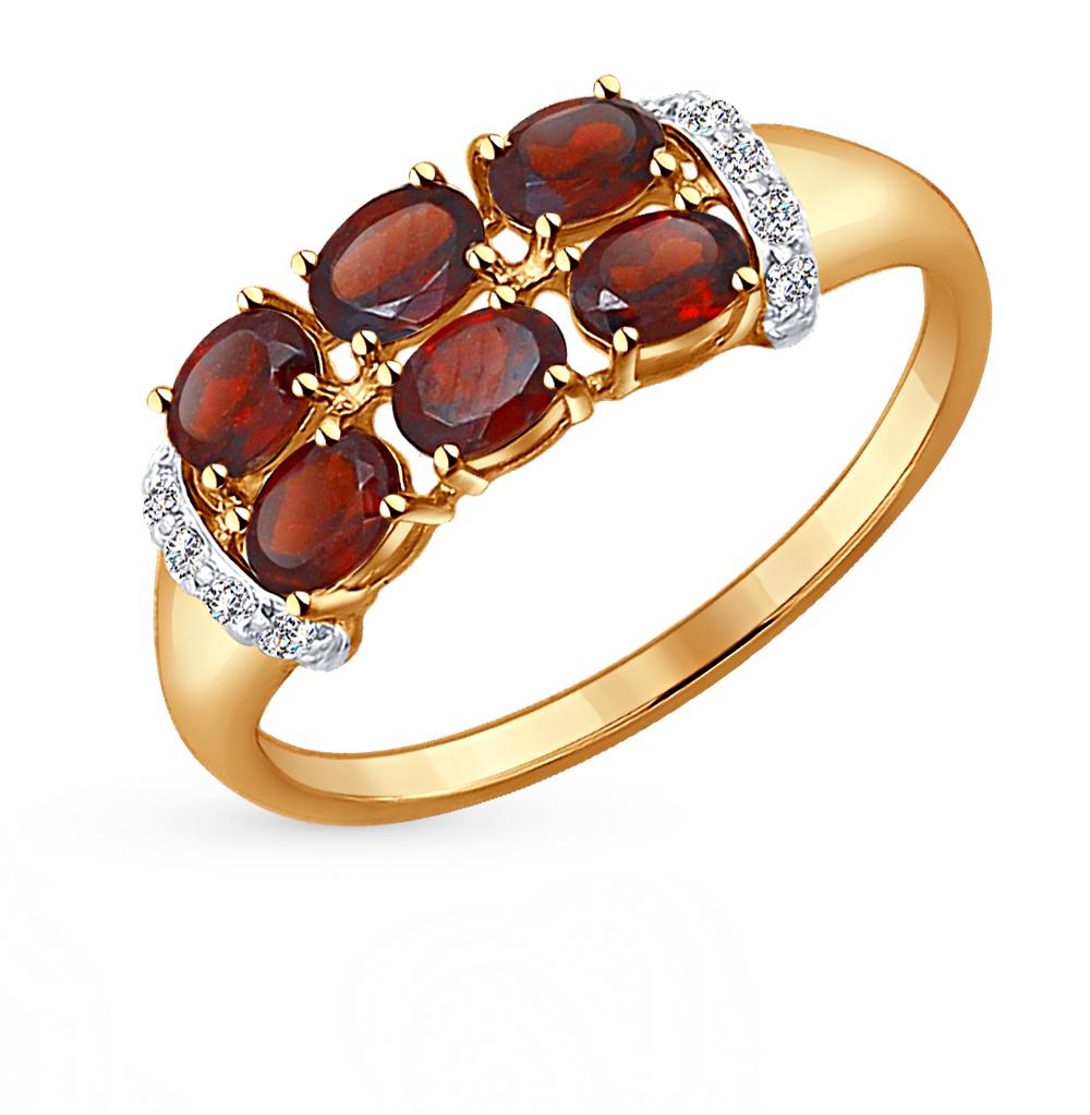 золотое кольцо с фианитами и гранатом SOKOLOV 714250*