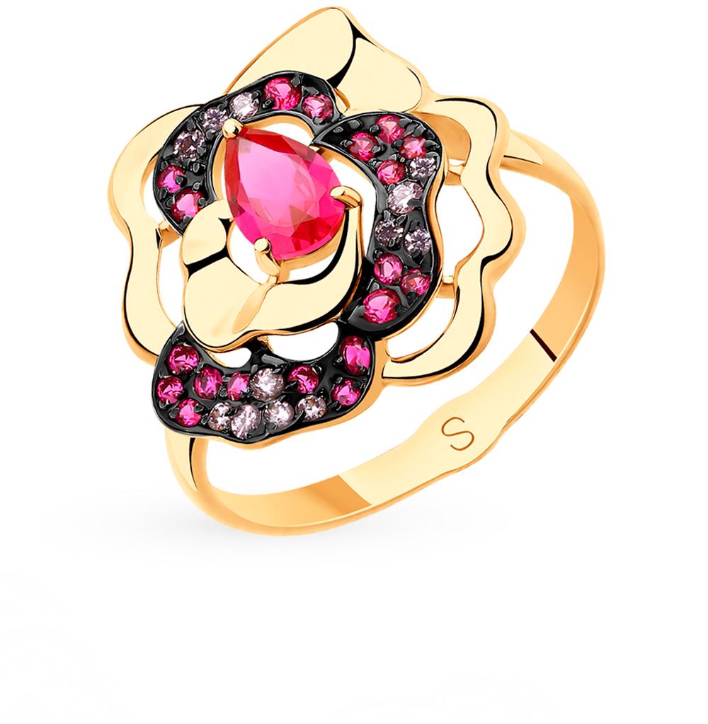 золотое кольцо с корундом и фианитами SOKOLOV 715460*