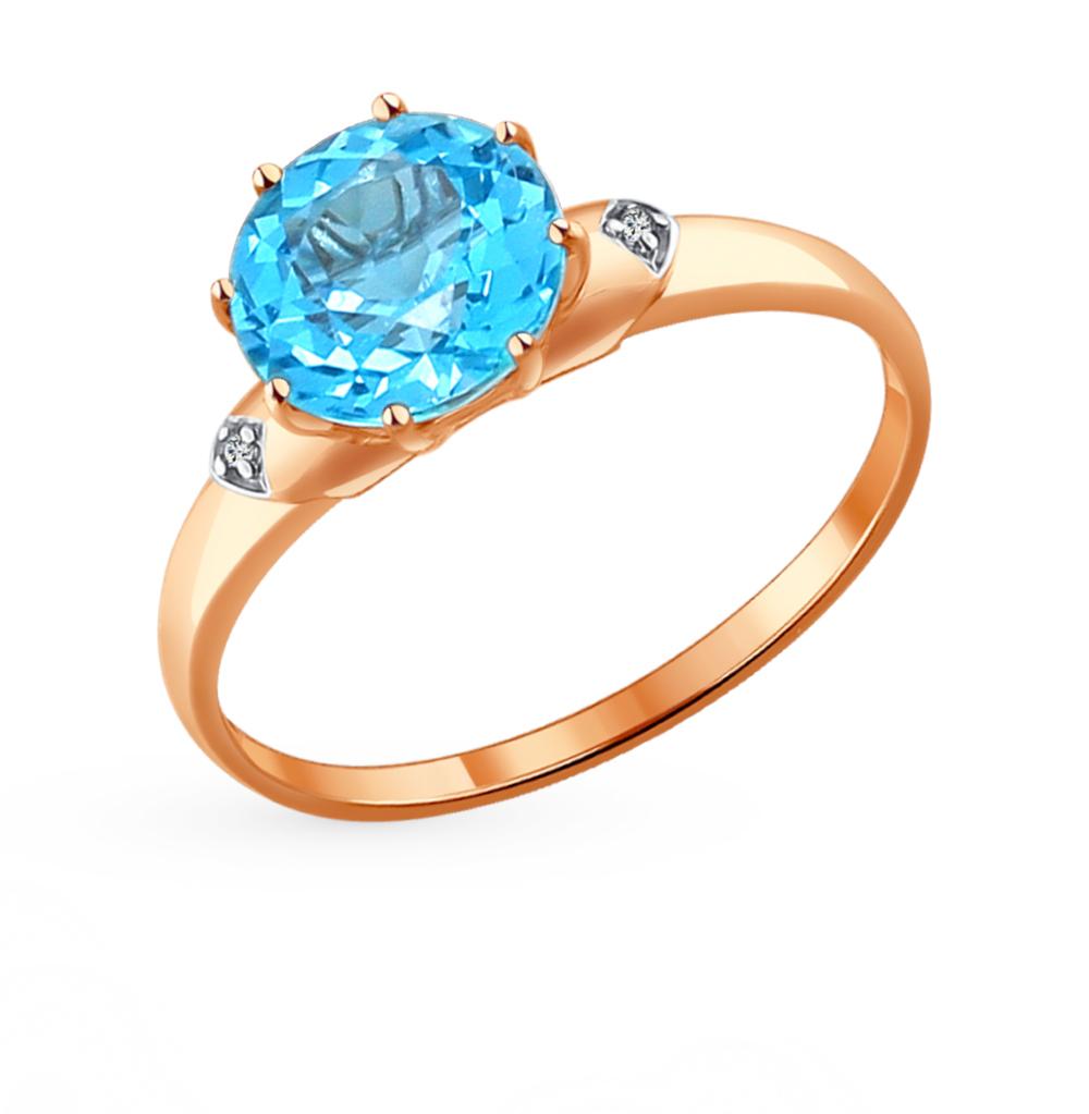 золотое кольцо с топазами и фианитами SOKOLOV 714003*