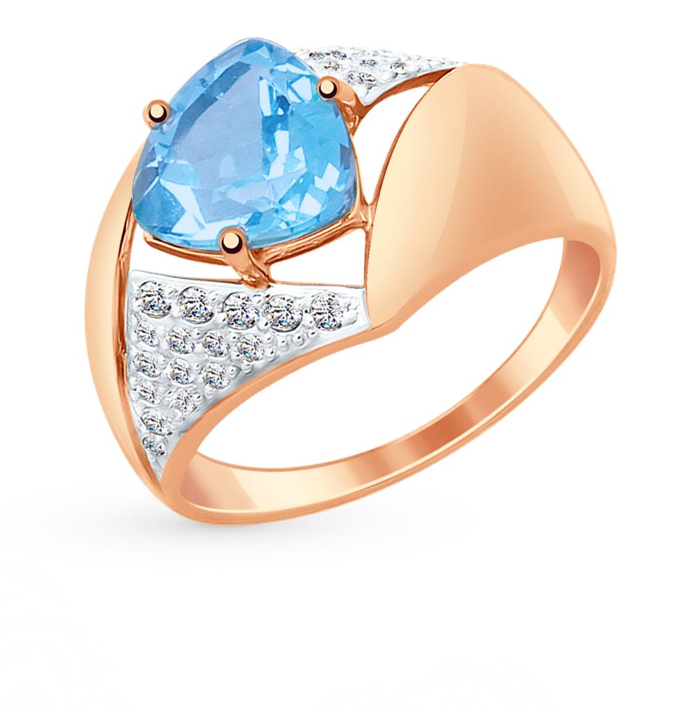 золотое кольцо с топазами и фианитами SOKOLOV 714885*