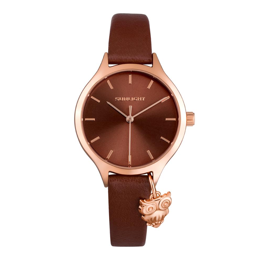 Женские часы с подвеской на кожаном ремне