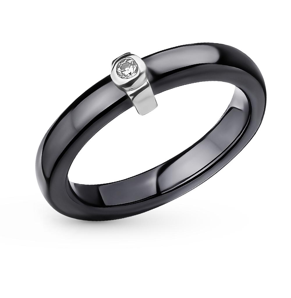 Фото «керамическое кольцо с серебром и фианитами»