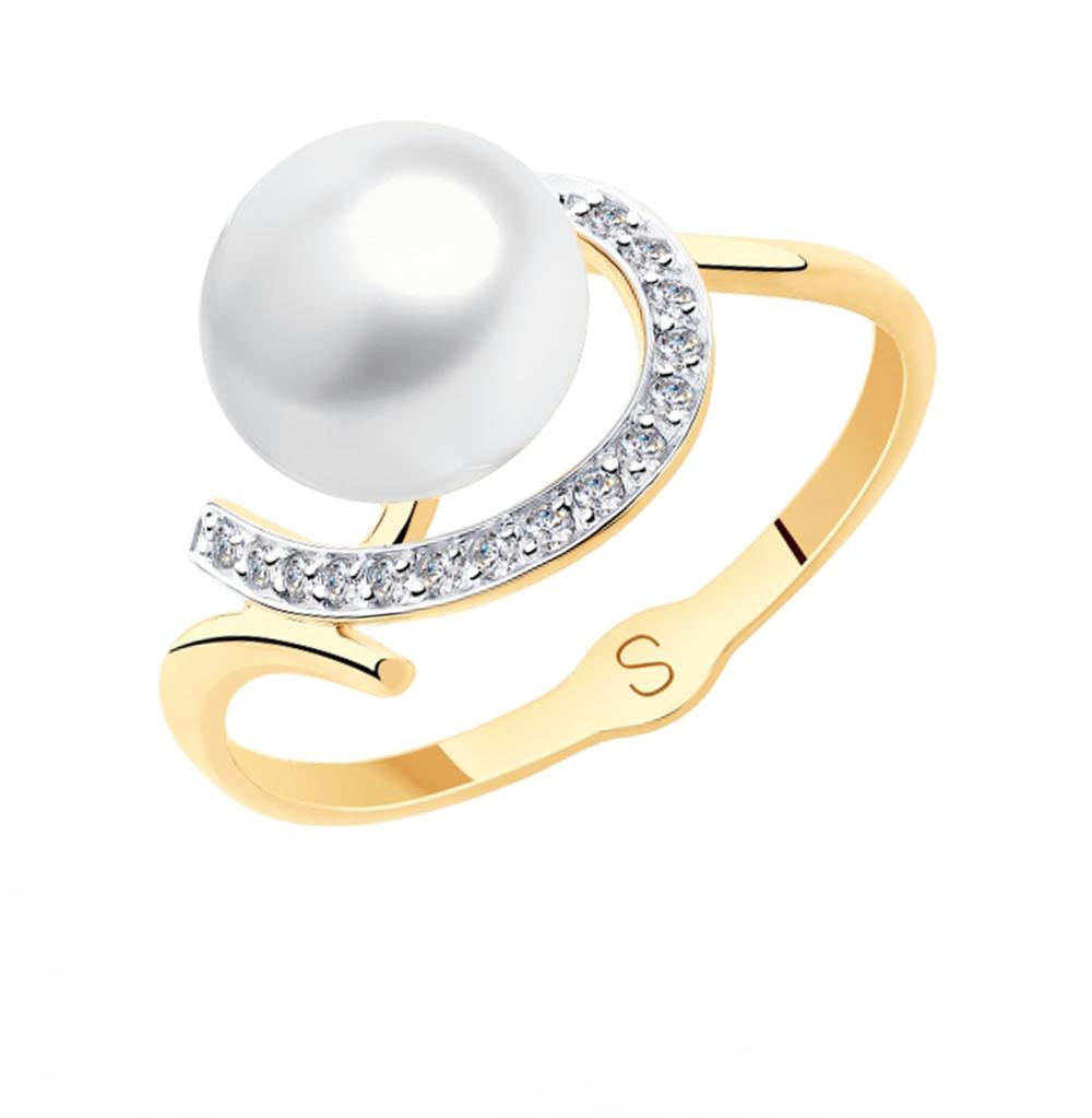 Фото «Золотое кольцо с фианитами и жемчугом SOKOLOV 791125»