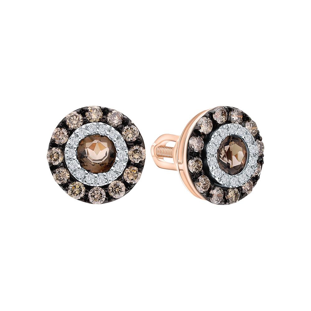 Фото «Золотые серьги с коньячными бриллиантами, раухтопазами (кварцами дымчатый)»