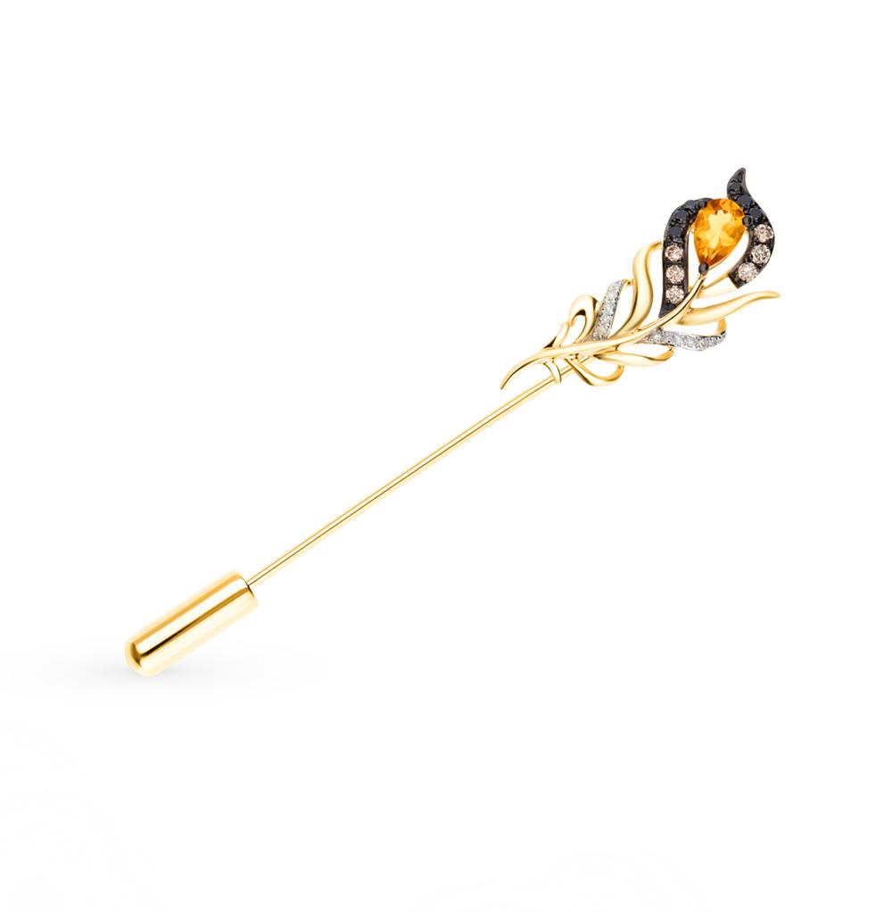 Золотая брошь с чёрными бриллиантами, цитринами
