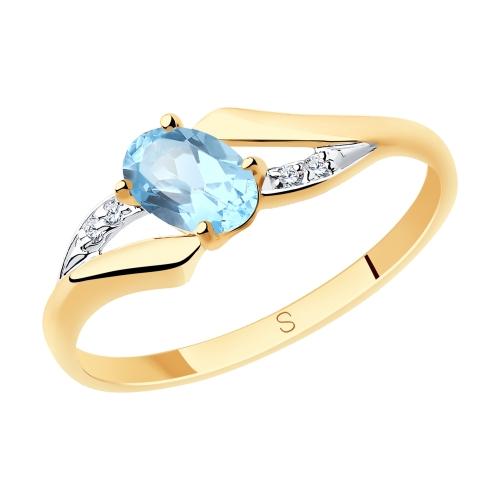 Фото «Золотое кольцо с топазами и фианитами SOKOLOV 715682*»