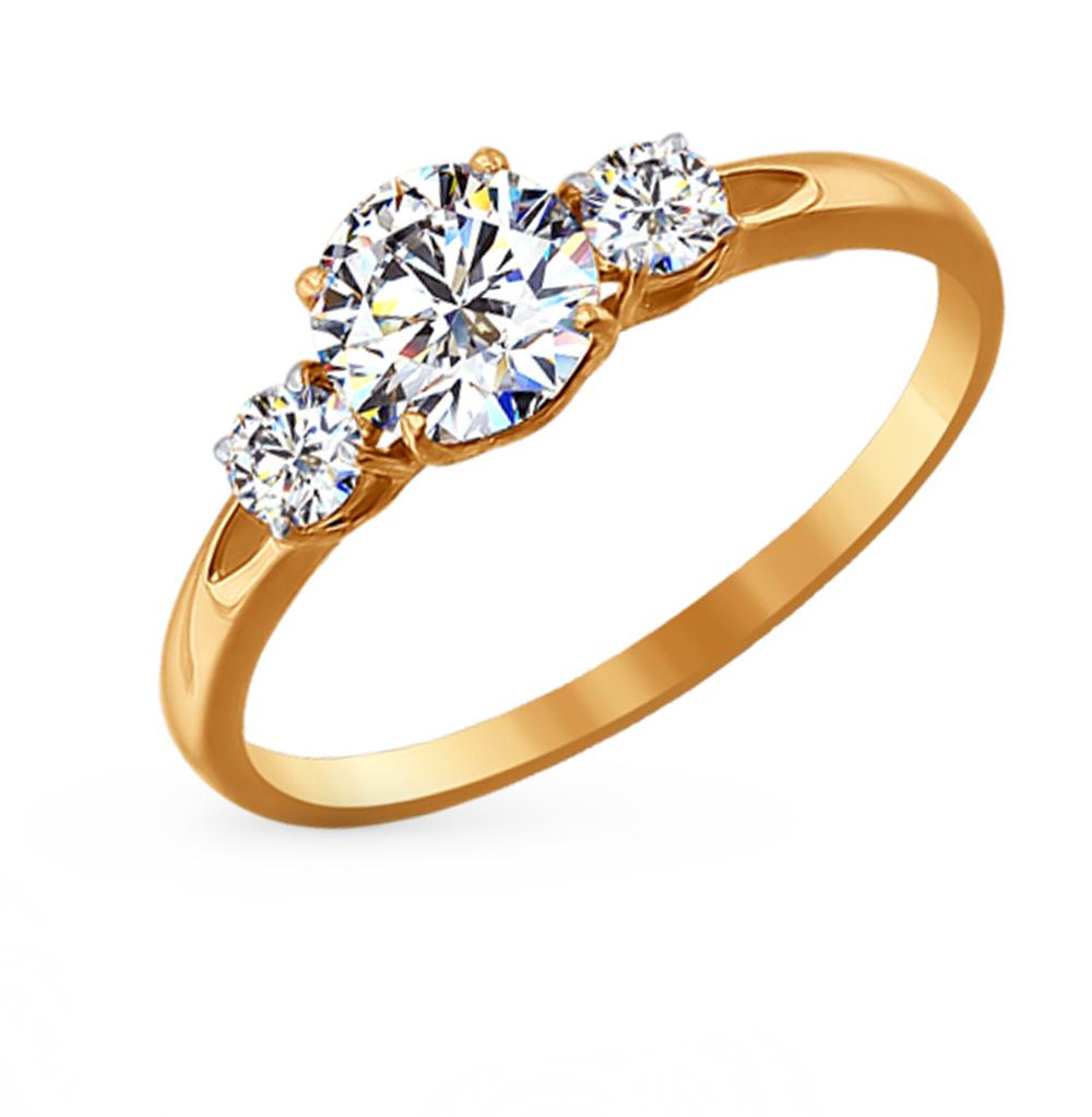 золотое кольцо с фианитами SOKOLOV 81010186*