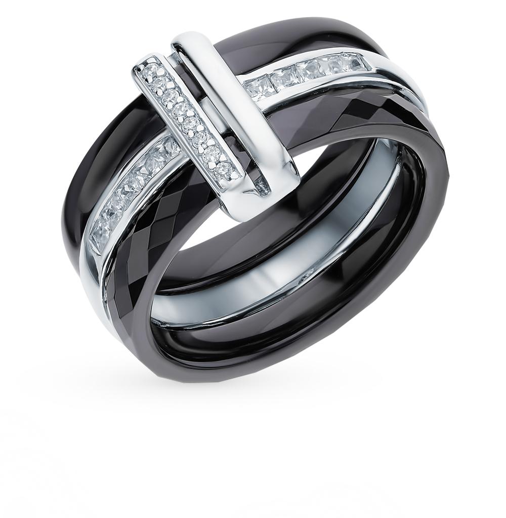 кольцо из серебра и керамики с керамикой и фианитами