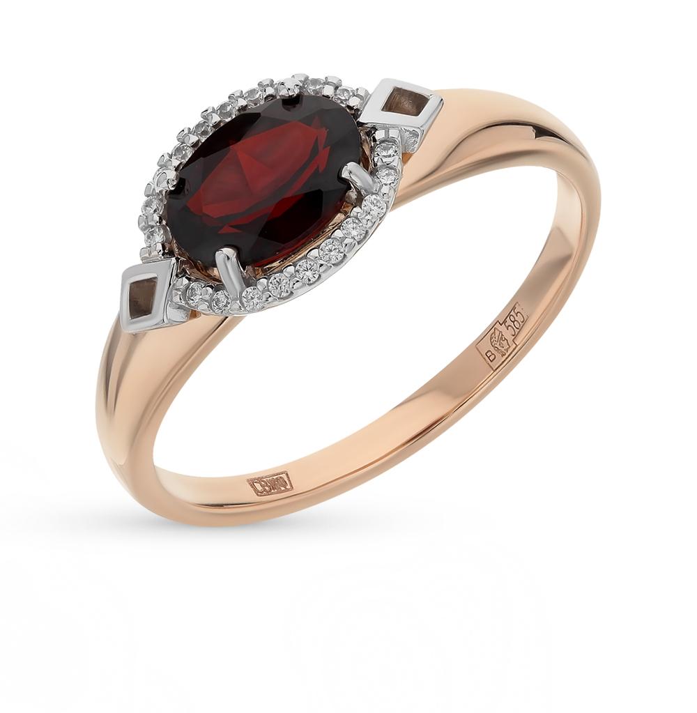 золотое кольцо с фианитами и гранатом SOKOLOV 714070*