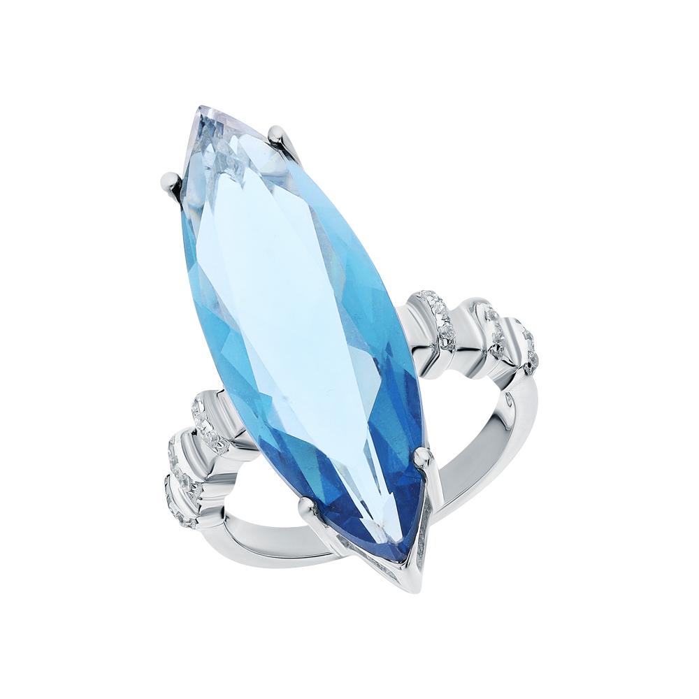 Фото «Серебряное кольцо с ситаллами и кубическими циркониями»