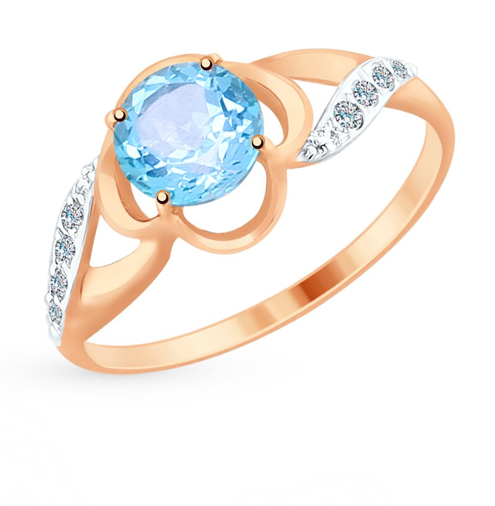 золотое кольцо с топазами и фианитами SOKOLOV 714921*