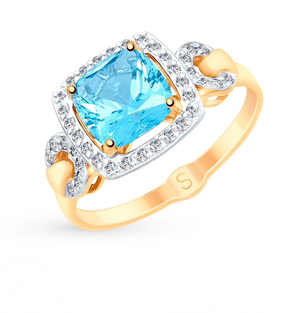 Фото «Золотое кольцо с топазом и фианитами SOKOLOV 715129*»