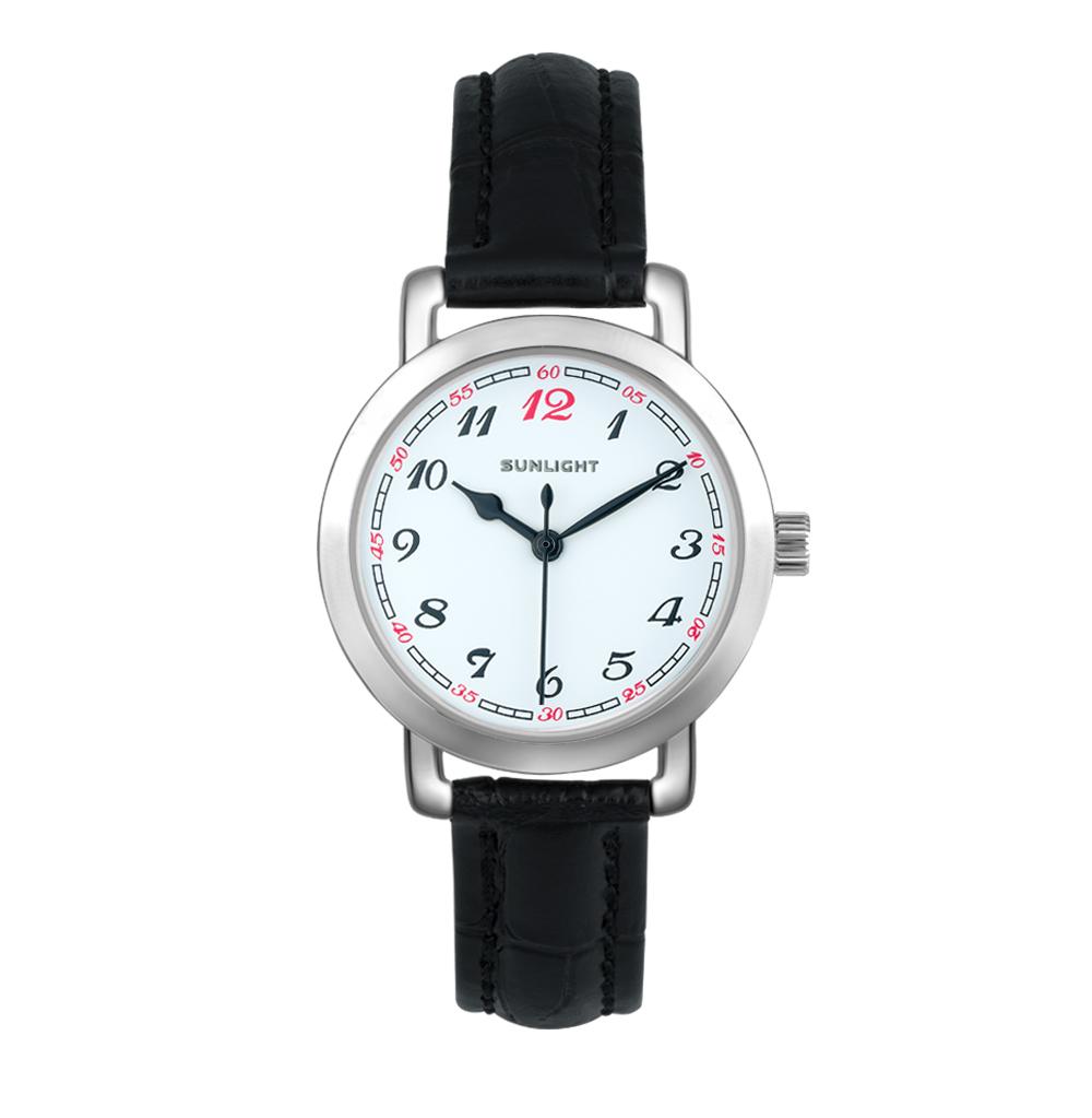 Женские часы с арабскими цифрами на кожаном ремне
