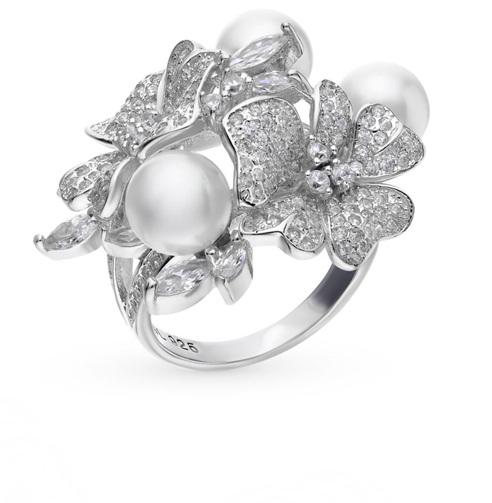 серебряное кольцо с фианитами, жемчугом и кубическими циркониями