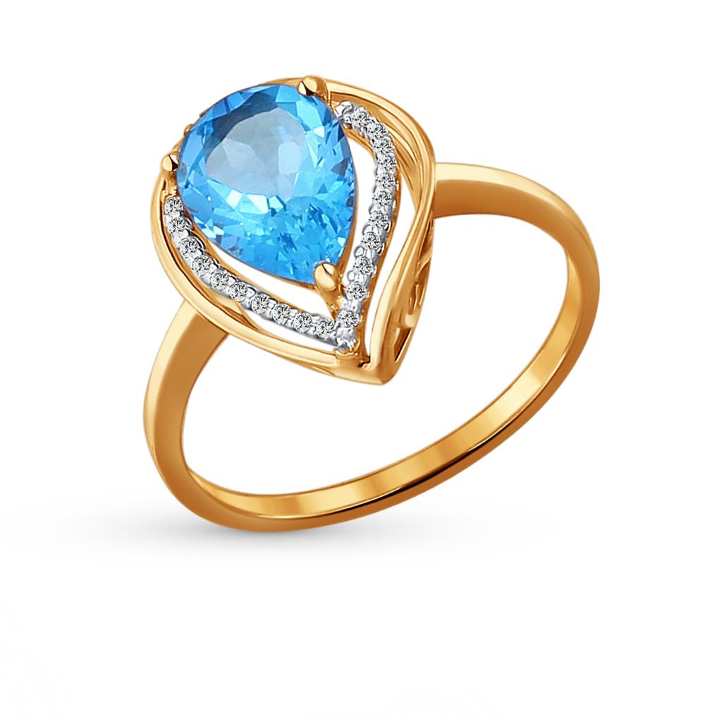 Золотое кольцо с топазами и фианитами SOKOLOV 713927* в Екатеринбурге