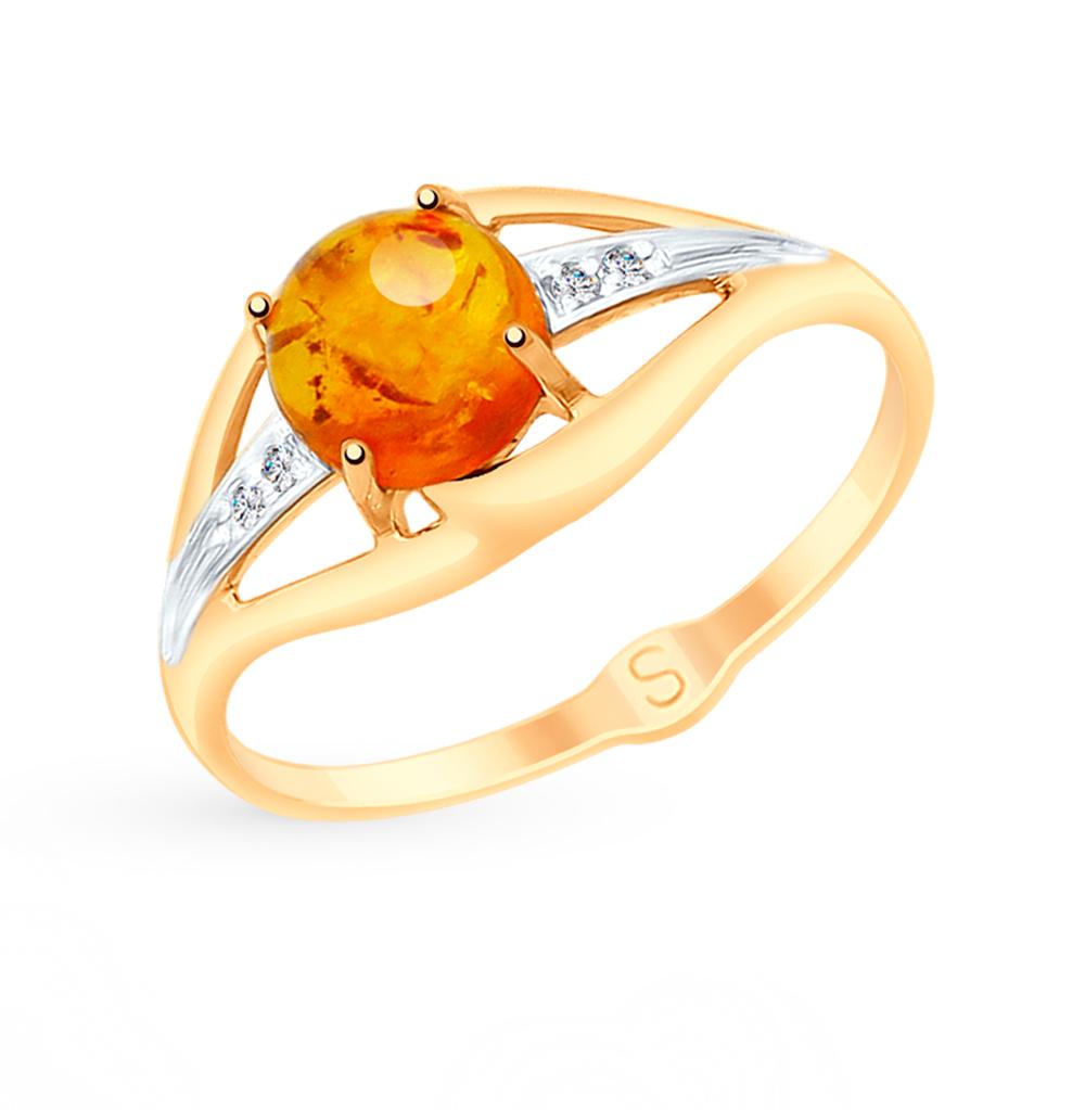 золотое кольцо с фианитами и янтарем SOKOLOV 715145