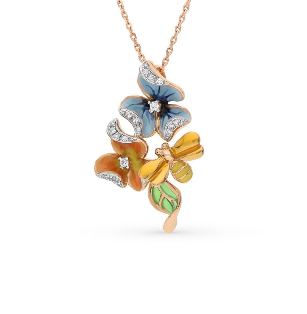 Фото «золотая подвеска с эмалью и бриллиантами»