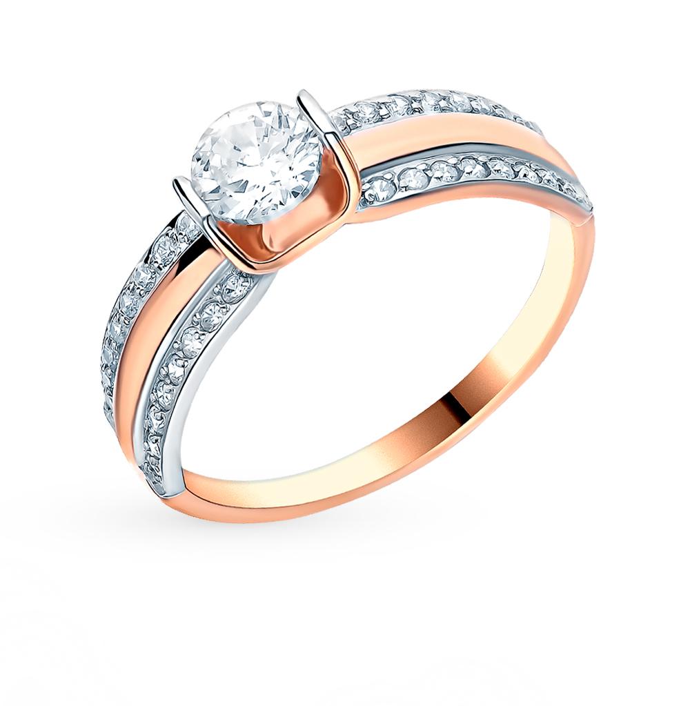 золотое кольцо с фианитами SOKOLOV 018464*
